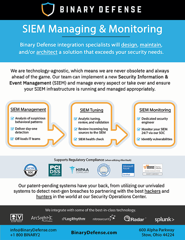 SIEM Managing & Monitoring - Binary Defense
