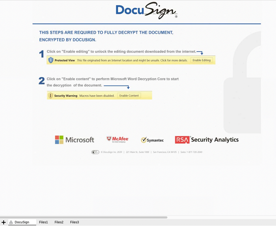 "A DocuSign masquerading lure, with step-by-step guides instructing the user to first click ""Enable Editing"" followed by ""Enable Content"